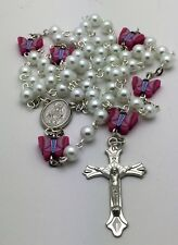 White Pearl and Pink Butterfly Catholic Rosary Beads