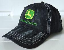John Deere Cool Black Wash Fabric Hat Cap w Vintage Logo