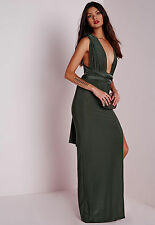 MISSGUIDED BLACK STRETCH GOWN SEXY LONG FORMAL DRESS SIZE:USA 12, UK 16
