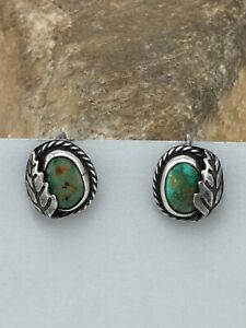 "Native American Sterling Silver Green Turquoise CUFF LINK Set 0.5"" 4476"