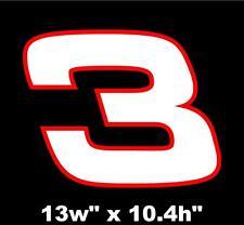 """Dale Earnhardt Sr. #3 Decal 13"""" Vinyl Decal Sticker Car Racing Nascar Daytona"""