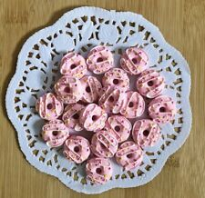 20 Pieces Pink Frosted Doughnut Cabochons Flat Backs Slime Charms Decoden