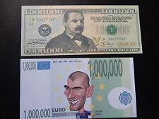 Novelty $1 + €1 French Banknotes Bills Un Million Bullet De Banque Euro Dollar