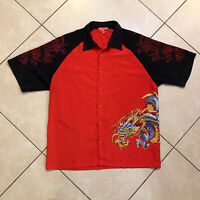Vintage Men's JNCO Jeans Dragon Graphic Red Button Up Short Sleeve Shirt XL VTG