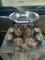 Vintage Sheridan Silver Ladle And 8 Cups, unknown brand Punch Bowl