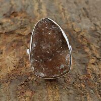 Natural Smoky Quartz Druzy Ring - 925 Sterling Silver Handmade Ring Size 10