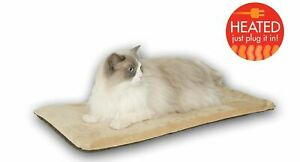 """K & H Thermo Kitty Mat Warming Cat Mat 12 1/2"""" X 25"""" NEW In Package Tan & Mocha"""
