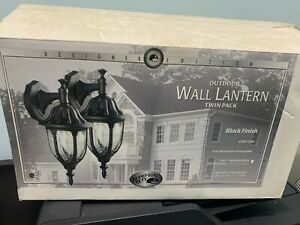 Hampton Bay Designer Edition Outdoor Wall Lantern Twin Pack Black Finish.