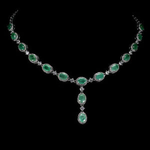 Necklace Green Emerald Genuine Natural Gems Sterling Silver 16 1/2 to 17 1/2 In