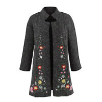 Rising International Women's Heidi Sweater Coat - Embroidered Floral Jacket Gray