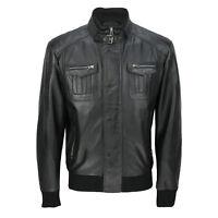 Mens New Black Real Soft Lamb Leather Retro Biker Style Zipped Bomber Jacket