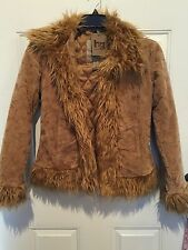 H&G OUTERWEAR Suede Leather Coat Embroiled Fur Collar Cuff  Jacket NWT Small