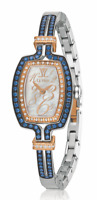 LeVian Time® Royal Blues™ Bangle Watch Sapphire White Diamonds Stainless Steel