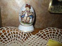"Schmid Collectible Berta Hummel 1982 Annual Egg ""The Flower Basket"" Easter egg"