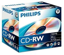 10x Philips Cd-rw 80 minutes 4-12x Multicolore vitesse Vierge CD disques avec