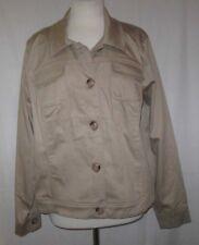 Dennis Basso Stretch Cotton Button Front Jacket Stone XL NEW A252592