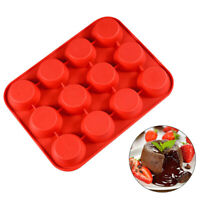 12 Cup Silicone DIY Muffin Pan Pudding Mould Bake Round Tray Cup Cake Chocolate