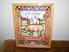 "Nice! ""Country Ham And Eggs"" D. Jordan Bryan 1994 Barn Oak Frame Country Decor"