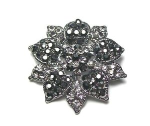 Black Hematite Flower Diamante Brooch Pin Crystal Bouquet Wedding Women Dress UK