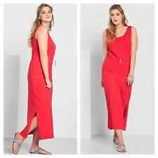 Sheego @ Freemans Size 18 Red Casual Luxury Jersey Sleeveless Maxi DRESS