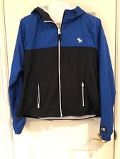 NWT Abercrombie And Fitch Blue Navy Colorblock Windbreaker Women Size M $70 Cute