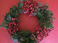Deko Kranz Winter rote Beeren mit Tannengrün Weihnachten sehr groß 45cm Neu