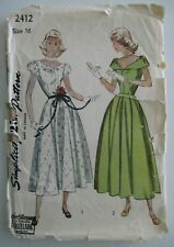 Vintage Simplicity 2412 Women's Dress 1940's Sewing Pattern Unused Sz 16 Bust 34