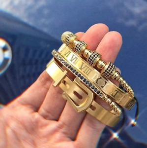 4Pcs/Set Men Stainless Steel Roman Numeral Bracelet Buckle Bangle Luxury Jewelry