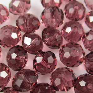 Brand new 3*4mm 328pcs Faceted light purple small round glass crystal beads