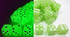 """WHOLESALE LOT 50 GLOW IN THE DARK BLUE/GREEN DICE 6 SIDED D6 DIE GAME 5/8"""" 16mm"""
