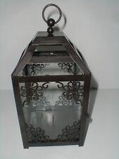 Black Wrought Iron & Glass Candle Holder Lantern