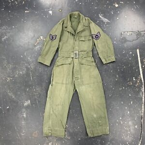 Vtg 40s HBT Coveralls Large 13 Star Button WWII Korean War Modified 1947 Small
