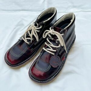 Kickers Kick Hi Ox Blood Cherry Red Leather Boots Size UK 6.5 (EUR 40)