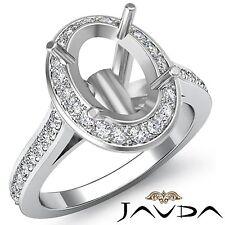 Semi Mount Oval Diamond Engagement Halo Pave Bezel Set Ring 14k White Gold 0.7Ct