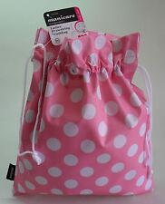 Girls Ladies Pink Drawstring Waterproof Toiletries Wash Bag, travel holiday