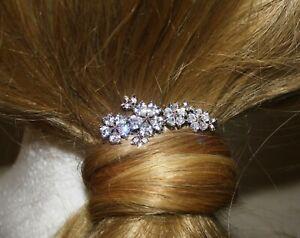 Bridal Hair Comb Rhodium Plated Copper Cubic Zirconia Wedding Prom Bridesmaid