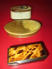 THREE  Antique  19th C - HORN   - SNUFF BOXES   #10