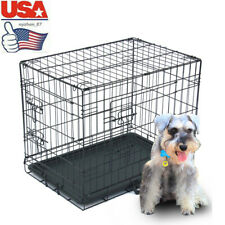 "24"" Pet Kennel Cat Dog Folding Crate Animal Playpen Wire Metal Cage +Plastic Pan"