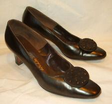 """Vtg DeLiso Debs Brown Leather Pumps Heels Shoe Retro w/toe """"Clip""""/Rhinesto nes~8B"""