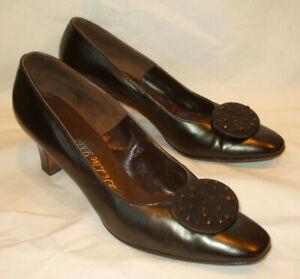"""VTG DeLiso Debs Brown Leather Pumps Heels Shoe Retro w/toe """"Clip""""/Rhinestones~8B"""