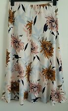 NEW M&S 6-24 Floral Print Beige Pink White Crepe A-Line Midi Skirt