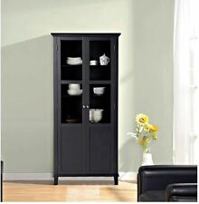 Kitchen Hutch China Liquor Storage Cabinet Buffet Bathroom Pantry Cupboard Black