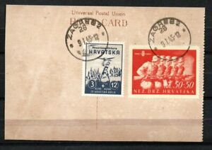 044. CROATIA 1944 Storm Division Stamps Used on Card