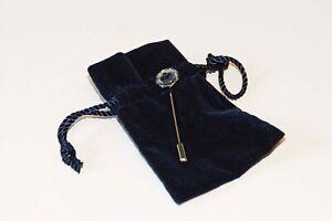 GENUINE SWAROVSKI TIE LAPEL CRAVAT STICK PIN WITH BLACK SWAN (NEVER USED)