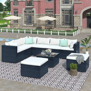 9-piece Modern Outdoor Patio PE Wicker Rattan Conversation Sectional Sofa Sets