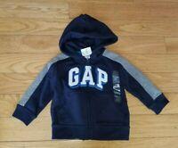 Boys BABY GAP Logo Zip Up Hoodie HOODED SWEATSHIRT Navy Blue Sz 12-18 Mos NWT