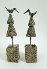 Lovely contemporary small wirework sculptures - birds on topiary