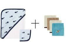 Baby Boy Muslin Hooded Cotton Terry Towel & Washcloth + 4 Bamboo Washcloths NEW