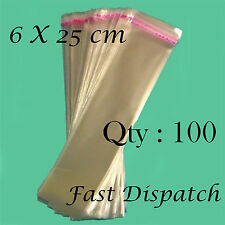 100 of 6 X 25 cm Clear Cello Cellophane Bags Display Self Adhesive Peel & Seal