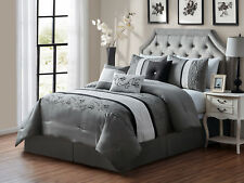 7-Pc Sabri Floral Vine Scroll Embroidery Comforter Set Gray Silver Black Queen